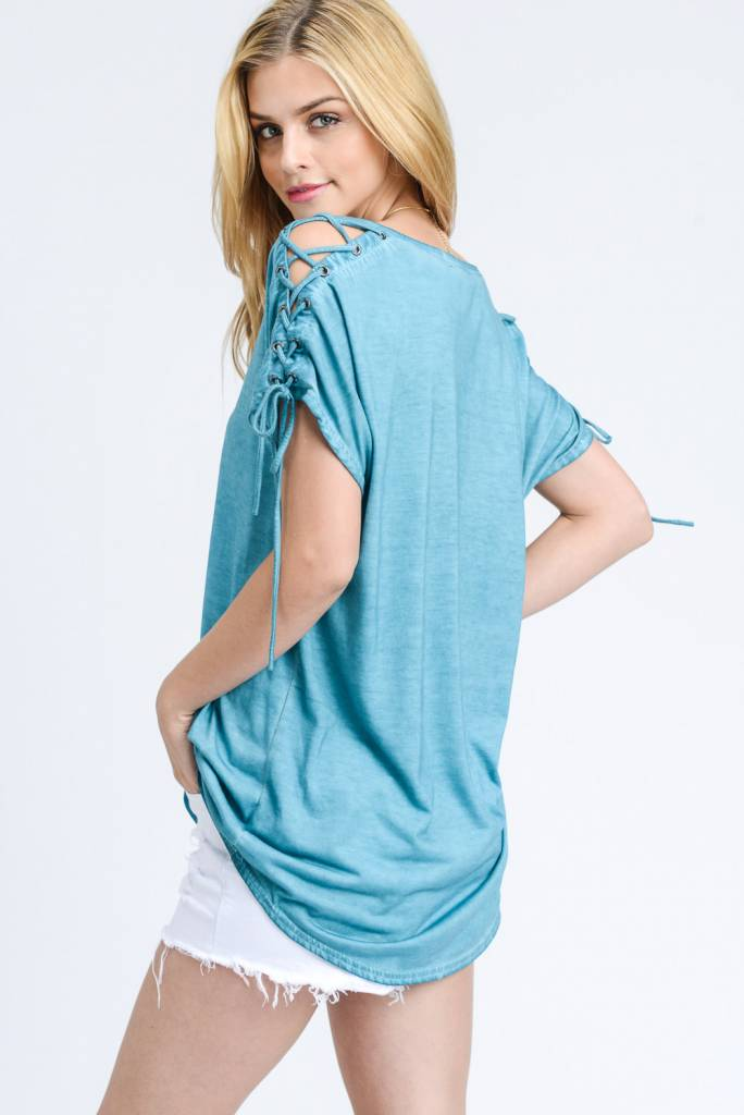 EE:SOME USA EE:SOME Lace Up Shoulder Top