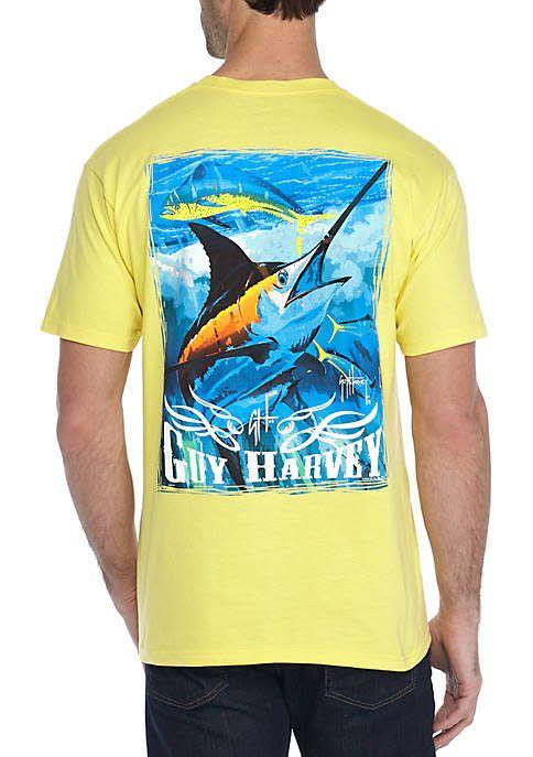 Guy Harvey Blue And Dolphin Mens Short Sleeve Shirt King