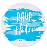 Mud Pie Blue Aqua Holic Round Beach Towel