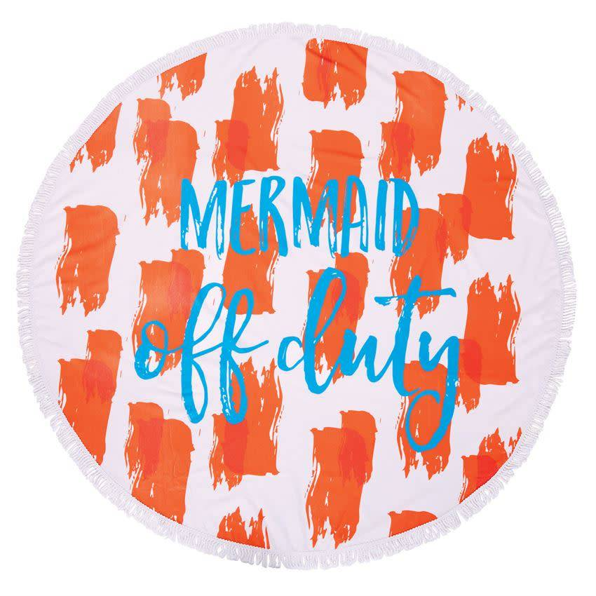 Mud Pie Orange Mermaid Off Duty Round Beach Towel