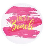 Mud Pie Pink Life's A Beach Round Beach Towel