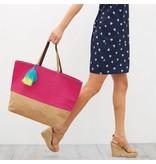Mud Pie Color Block Jute Tote Bag