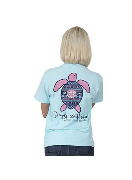 Simply Southern Collection SIMPLY SOUTHERN® SAVE THE TURTLES 'IKAT' SHORT SLEEVE T-SHIRT