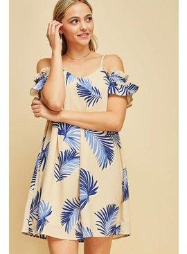 Entro Inc Tropical print off-shoulder dress