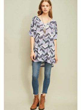 Entro Inc Printed v-neck tunic top