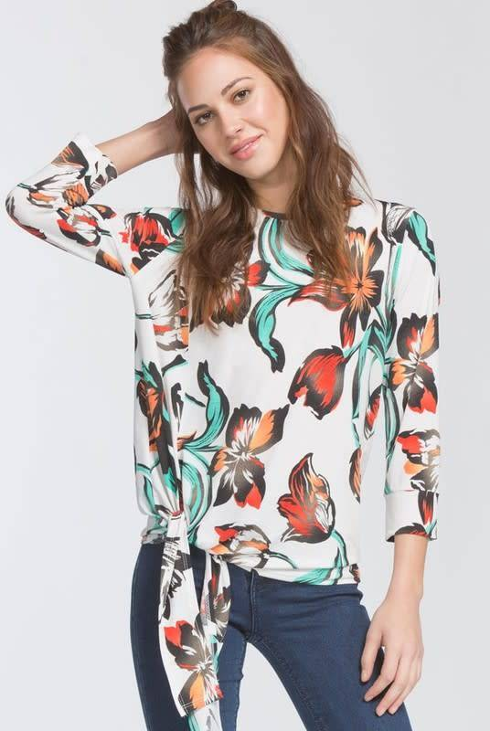 Cherish Side Tie Floral Top