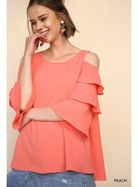 Tiered Ruffle Sleeve Open Shoulder Keyhole Top