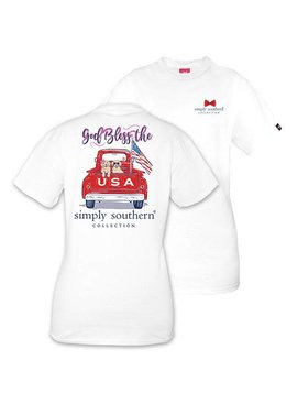 Simply Southern Collection Youth God Bless the USA Short Sleeve T-Shirt