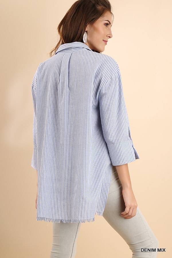 3/4 Sleeve Striped Collared Top