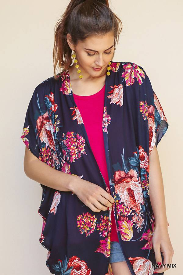 Floral Print Open Front Sheer Kimono