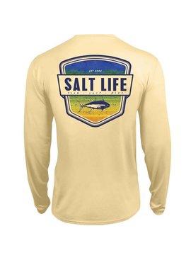Salt Life Electric Skinz Badge Performance Long Sleeve Pocket Tee