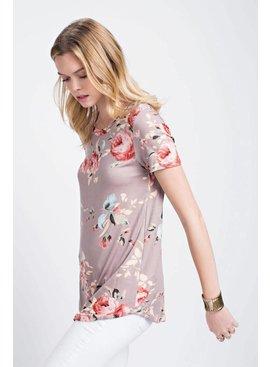 Floral Print Rayon/Span Waistline Top