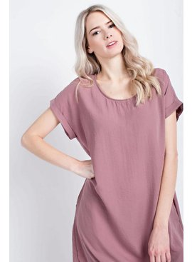 MON AMI Solid Short Sleeve Dress