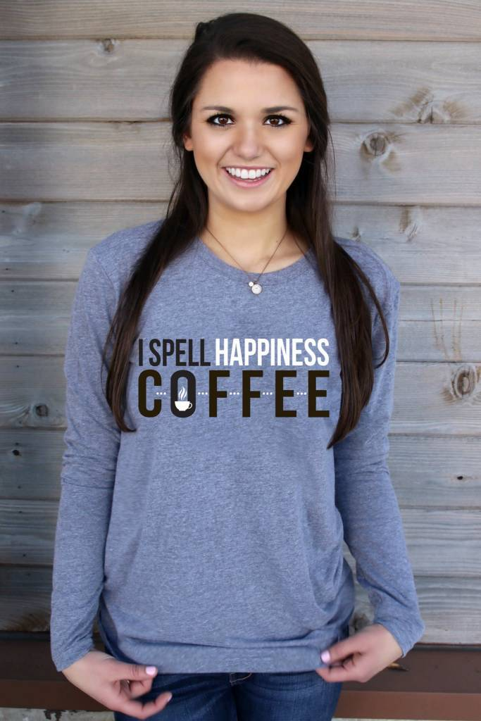 ATX Mafia, LLC I SPELL HAPPINESS COFFEE (HEATHER GREY) - LONG SLEEVE