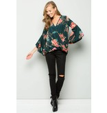 EE:SOME USA EE:SOME Rose Print Surplice Woven Top W/Bell Sleeves