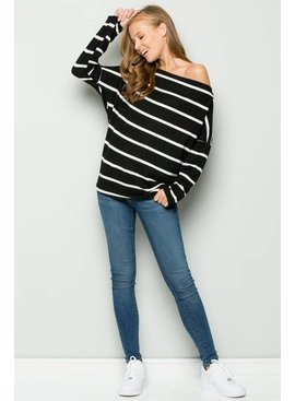 EE:SOME USA EE:SOME Off Shoulder Stripe MOHAIR Knit Top