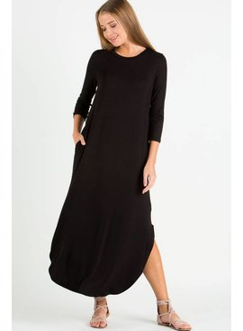 EE:SOME USA EE:SOME 3/4 Sleeve Split-Side Maxi Dress
