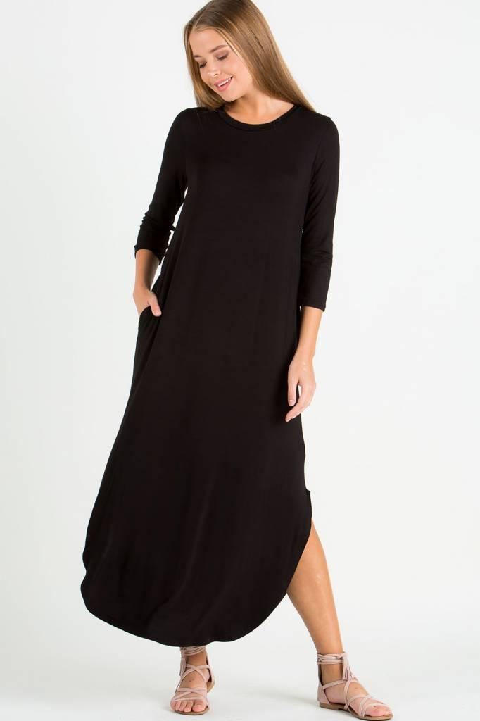 EE:SOME USA EE:SOME 3/4 Sleeve Split-Side Maxi Dress