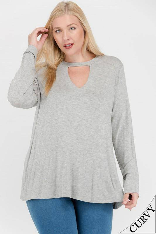 Cutout Front Long Sleeve Knit Top
