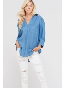 Wishlist 3/4 SLEEVE TENCEL V NECK BLOUSE