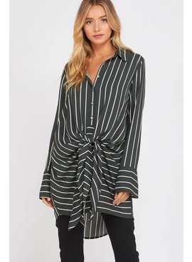 Wishlist STRIPED WRAP TIE BLOUSE