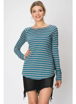 HYFVE COTTON STRIPE HENLEY T-SHIRT