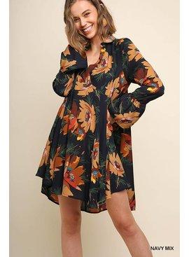 Floral Print Collared Surplice Dress