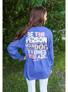 Jadelynn Brooke Be The Person Dog Thinks (Heather Navy) - Long Sleeve / V-Neck