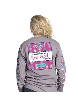 Simply Southern Collection Youth How Sweet the Sound Long Sleeve T-Shirt - Steel