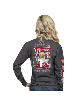 Simply Southern Collection Tailgates and Touchdowns Long Sleeve T-Shirt - Dark Heather Grey