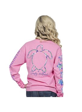 Simply Southern Collection Preppy Logo Long Sleeve T-Shirt - Flamingo