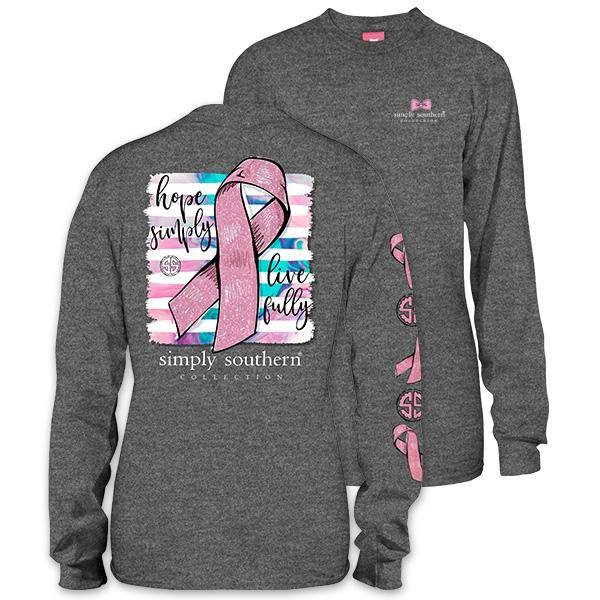 Simply Southern Collection Hope Simply, Live Fully Long Sleeve T-Shirt - Dark Heather Grey