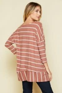 Honeyme Brushed Stripe Hacci Top