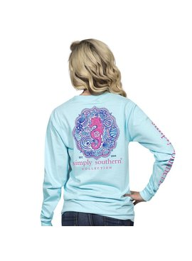 Simply Southern Collection Youth - Seahorse Long Sleeve T-Shirt - Marine