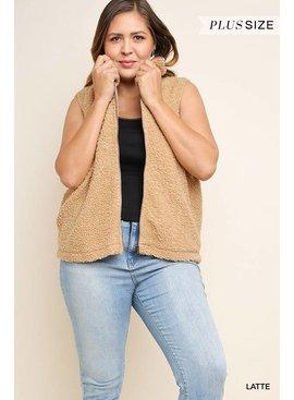 Sleeveless Boucle Knit Zip Front Vest