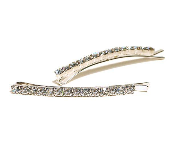 FH2 AY0001-1 Crystal Bobby Pin, pair
