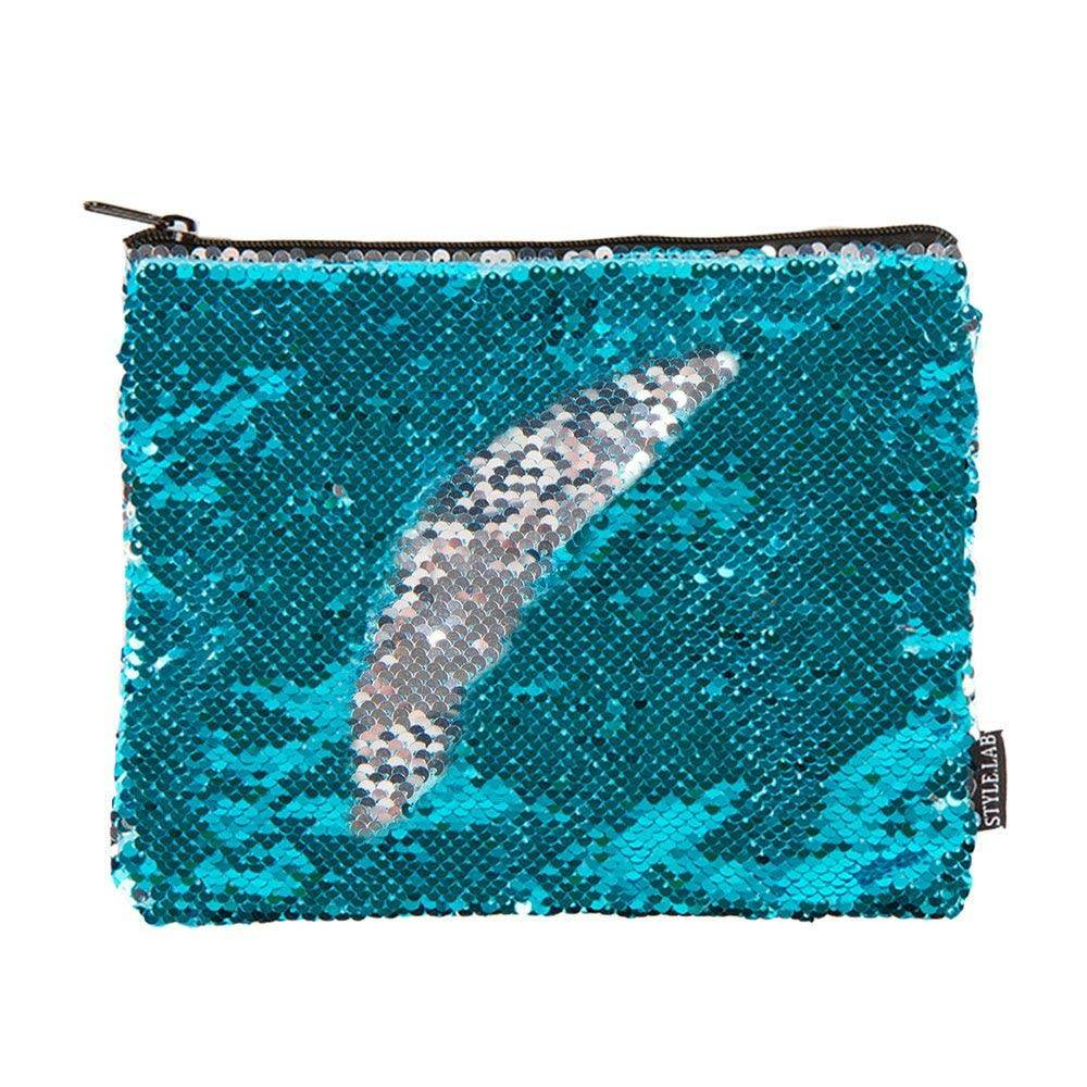 Fashion Angels Turquoise Magic Sequin Zip Pouch