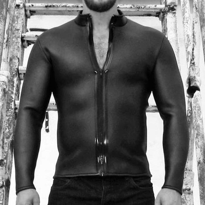 Neoprene, Shirt, Long Sleeve, Collared, Zip Front