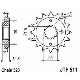 JT Front Steel Sprocket for 1990+ KLR650 - 15 Tooth