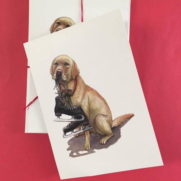 Dog with Skates Holiday Card 5 Pack