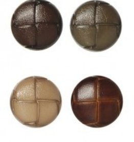 Bergere de France Set of 6 mock leather buttons, brown, 22 mm