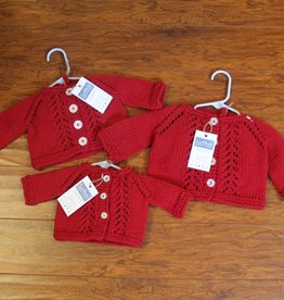 Red Handknit Lacy Cardigan with Hat
