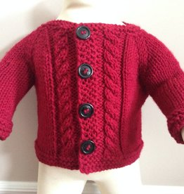 Red Handknit Cable Cardigan