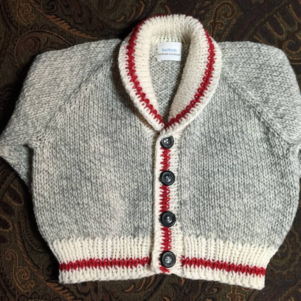 Vintage Wool Sock Monkey Cardigan - Size 1-2