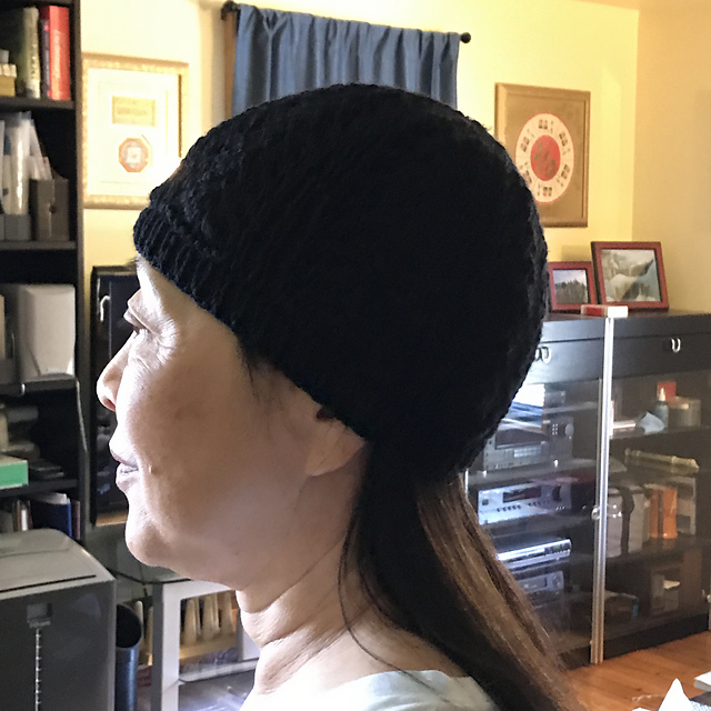 Sue2Knits Ribbing and Lace Chemo Hat