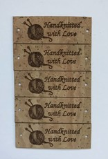 "LeatherGoodsCo Cork Leather labels - ""Handknitted with Love"""