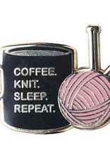 Coffee Knit Sleep Repeat Pin