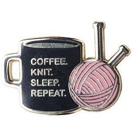 Coffee Knit Sleep Repeat Pin
