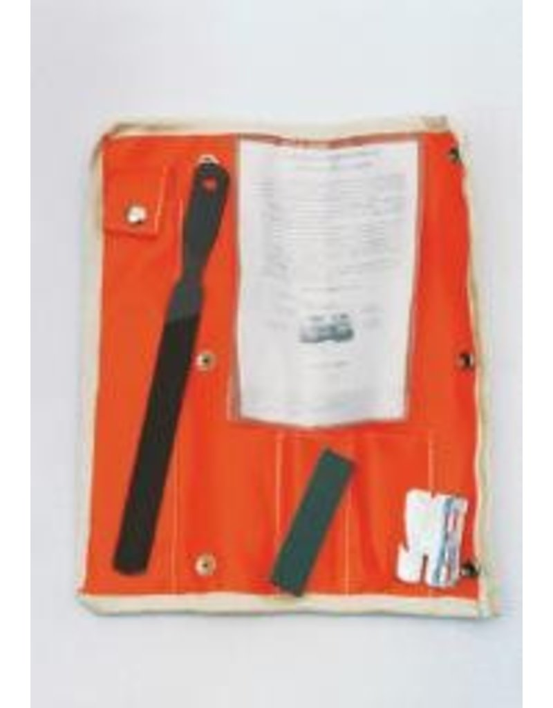 Buckingham Tools and gauge for inspecting  and performing tree gaff maintenance.  Kit includes smooth single cut file (6058), tree gaff gauge (6306) and finishing hone (6501).