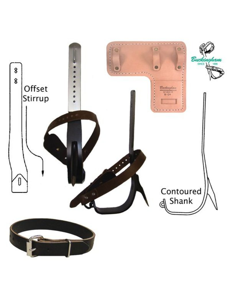 Buckingham Complete steel tree climber set includes:<br /><br />    * Contoured shank<br />    * Offset stirrup<br />    * Screw style replaceable gaff<br />    * 2239 nylon leg straps<br />    * 21391 nylon foot straps<br />    * 3122 climber pads